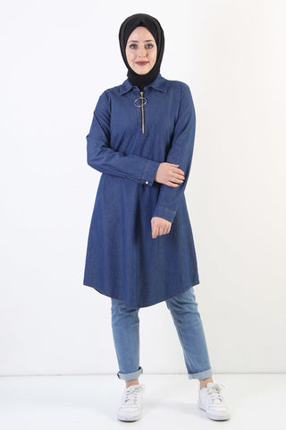 Women's Zipped Collar Dark Blue Modest Denim Tunic
