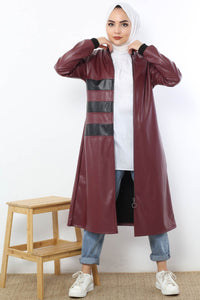 Women's Zipped Claret Red Leather Jacket