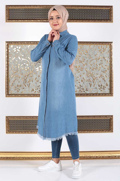 Women's Fringe Hem Light Blue Denim Tunic