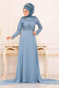 Women's Beaded Blue Evening Dress