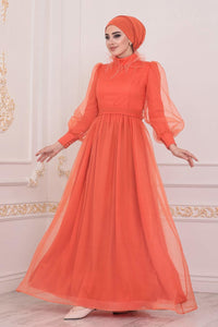 Women's Fringe Detail Orange Modest Long Evening Dress