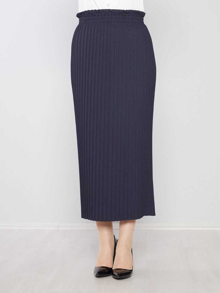 Women's Pleated Navy Blue Modest Long Skirt