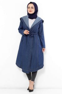 Women's Hooded Tie Waist Dark Blue Jacket