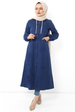 Women's Hooded Zipper Pocket Dark Blue Denim Abaya