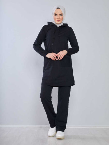 Women's Hooded Black Modest Tracksuit