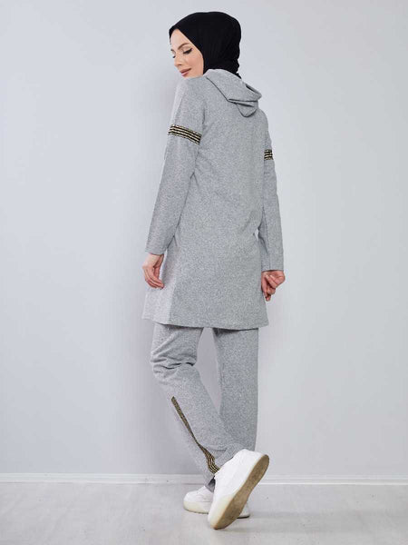 Women's Hooded Grey Modest Tracksuit