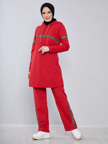Women's Hooded Red Modest Tracksuit