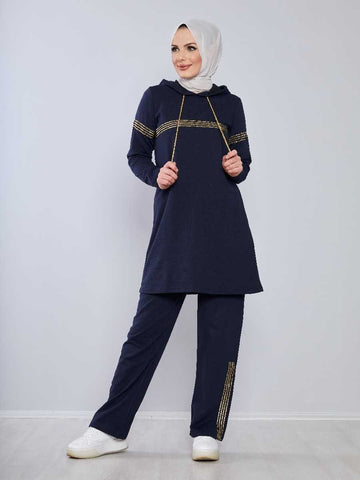 Women's Hooded Navy Blue Modest Tracksuit
