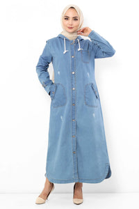 Women's Hooded Pocket Light Blue Denim Abaya