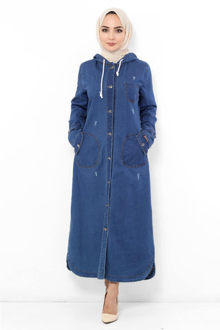 Women's Hooded Pocket Dark Blue Denim Abaya
