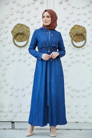 Women's Hooded Dark Blue Denim Modest Dress / Abaya