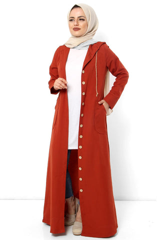 Women's Hooded Wooden Button Tile Red Abaya
