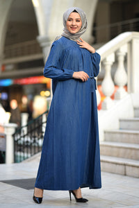 Women's Belted Dark Blue Denim Long Dress