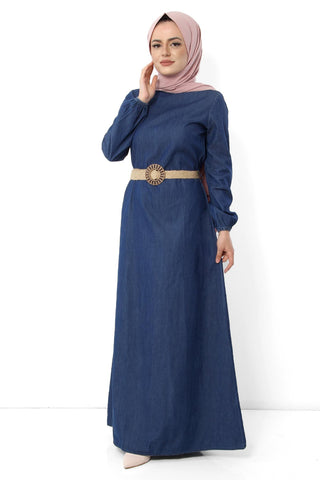 Women's Belted Dark Blue Denim Modest Long Dress