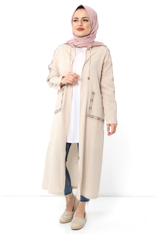 Women's Embroidery Pattern Beige Abaya