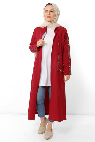 Women's Embroidery Pattern Claret Red Abaya