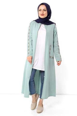 Women's Embroidery Pattern Mint Green Abaya