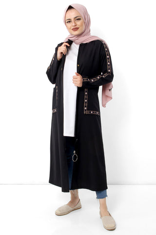 Women's Embroidery Pattern Black Abaya