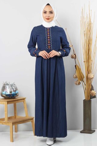 Women's Embroidered Dark Blue Denim Long Dress