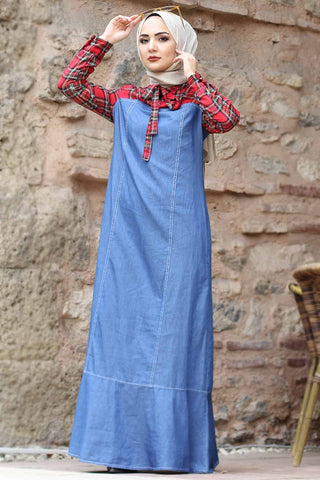 Women's Plaid Pattern Light Blue Denim Dress