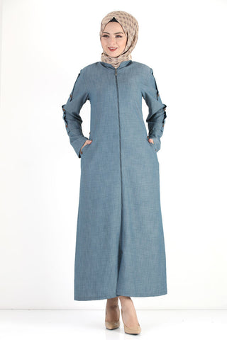 Women's Oversize Button Sleeves Light Blue Topcoat