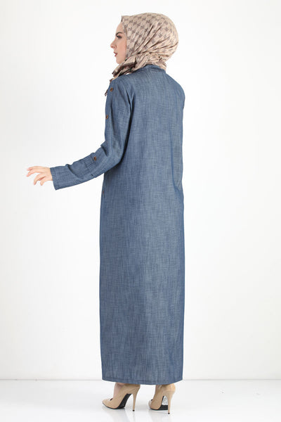 Women's Oversize Button Sleeves Blue Topcoat