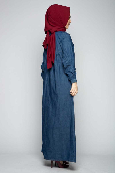 Women's Button Dark Blue Denim Modest Dress