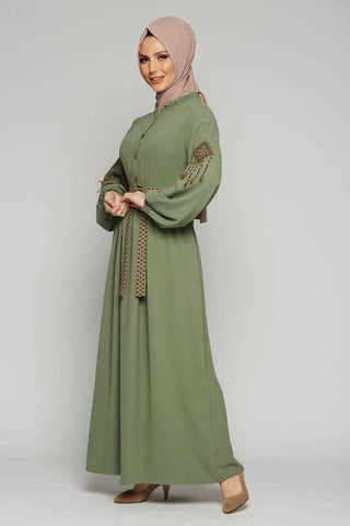 Women's Belted Embroidered Sleeve Khaki Modest Long Dress