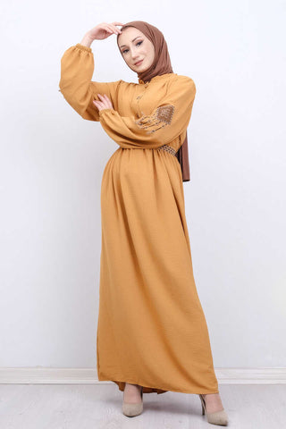 Women's Belted Embroidered Sleeves Mustard Modest Long Dress