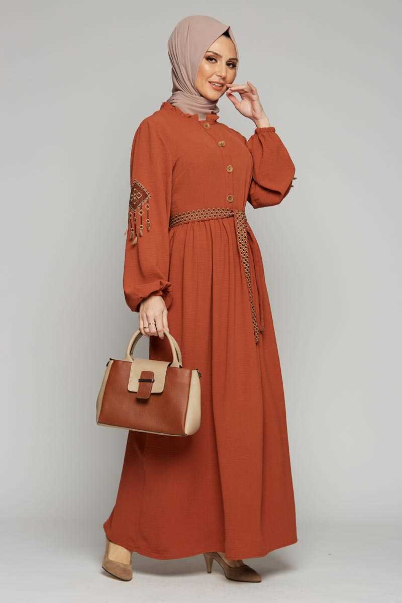 Women's Belted Embroidered Sleeves Tile Red Modest Long Dress