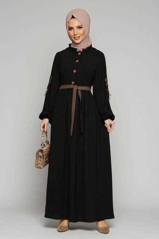 Women's Belted Embroidered Sleeves Black Modest Long Dress