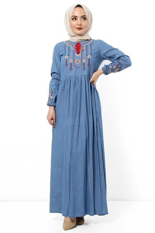 Women's Embroidered Blue Denim Long Dress