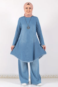 Women's Necklace Accessory Light Blue Denim Tunic