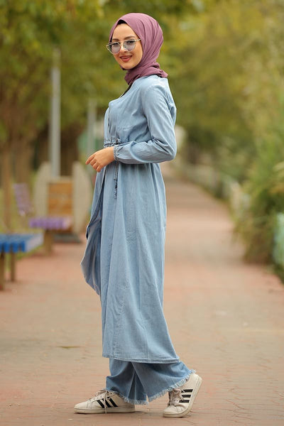 Women's Light Blue Denim Trenchcoat