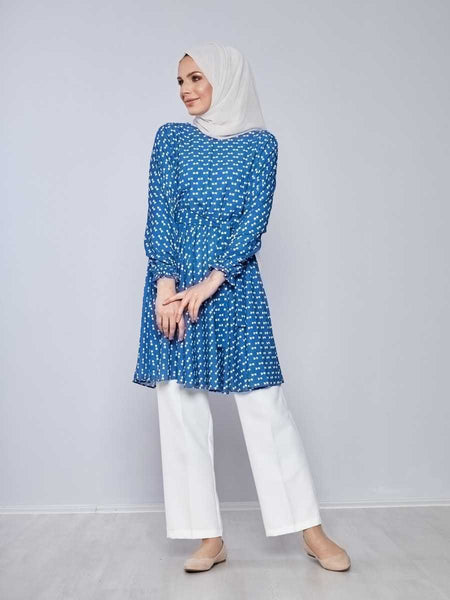 Women's Belted Patterned Saxe Modest Tunic