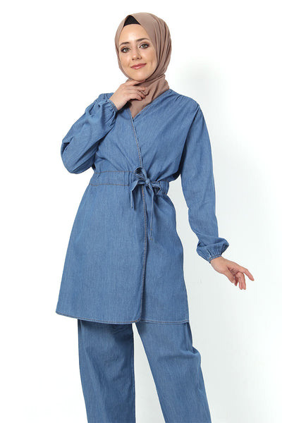 Women's Belted Light Blue Denim Tunic Pants Set