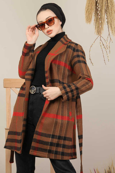 Women's Belted Patterned Brown Modest Coat