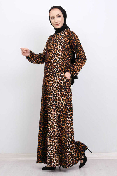 Women's Leopard Pattern Brown Modest Long Dress