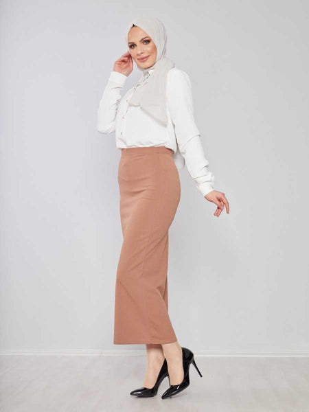Women's Camel Lycra Modest Pencil Skirt