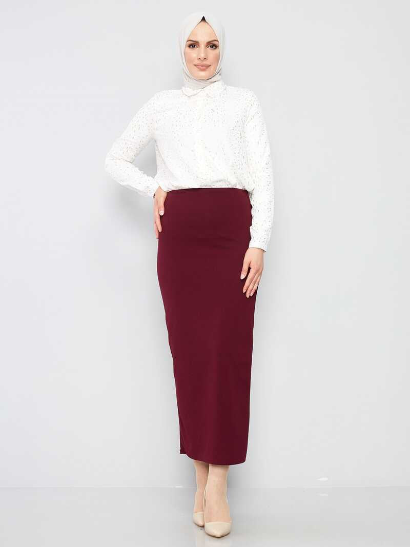 Women's Claret Red Lycra Modest Pencil Skirt