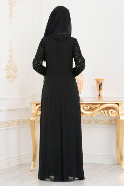 Women's Sequin Lace Detail Black Evening Dress