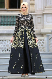 Women's Jacquard Black Evening Dress
