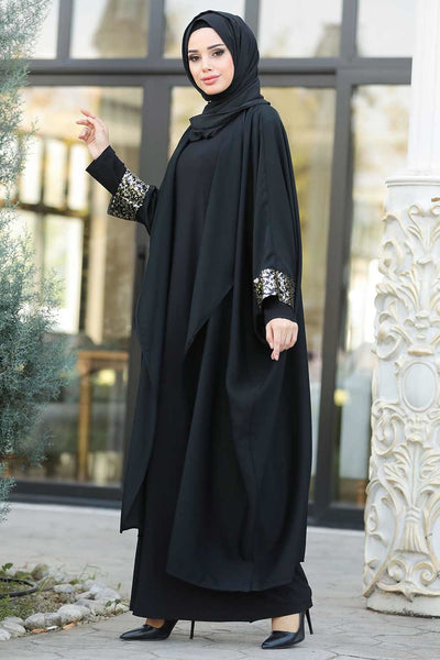 Women's Sequined Black Abaya