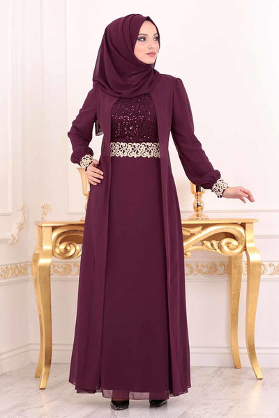 Women's Sequin Top Damson Evening Dress