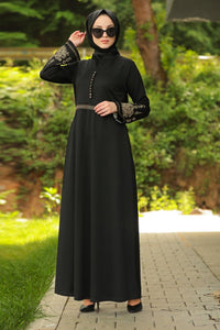 Women's Embroidered Sleeves Black Dress