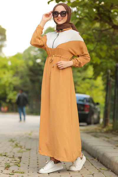 Women's Zipper Collar Mustard Aerobin Modest Long Dress