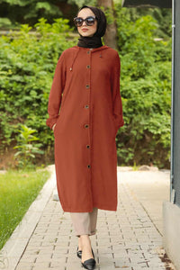 Women's Hooded Button Long Tile Red Aerobin Fabric Modest Tunic
