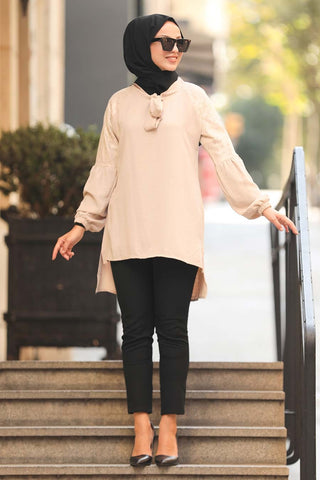 Women's Long Back Beige Modest Tunic