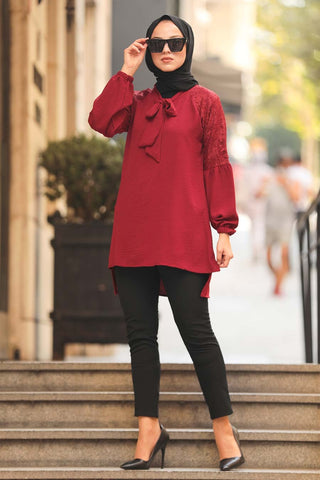 Women's Long Back Claret Red Modest Tunic