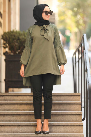 Women's Long Back Khaki Modest Tunic